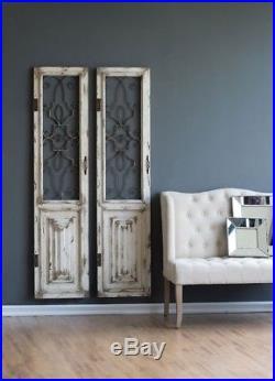 Distressed Vintage Antique Shabby Wood Metal Garden Gate Door Wall Art Panel NEW