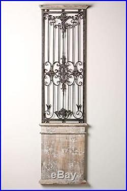 Distressed Vintage Rustic Scrolling Wood Metal Garden Gate Door Wall Panel Art