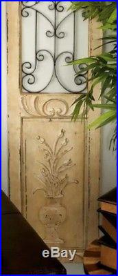 Distressed Vintage Shabby Scrolling Wood Metal Garden Gate Door Wall Art Panel