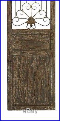 Distressed Wood Scrolling Iron Vintage Country Garden Gate Door Wall Panel Art