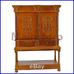 Doll Scenes Furniture 1/6 Scale Handmade Wood Carving Collection Cabinet