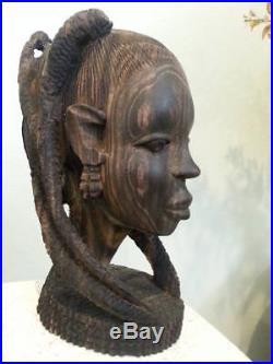 Ebony Wood Sculpture BUST African Head Hand Carved Vintage Tribal Statue Black