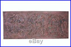 Eclectic BOHO Vintage Wood Headboard carved Kamasutra WALL SCULPTURE OLD WORLD