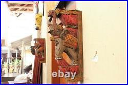 Elephant Corbel Pair Wooden Wall Bracket Sculpture Vintage Home Decor Statue