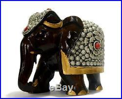 Elephant Figurine Vintage Hand Statue wood Carved Animal Sculpture Figure
