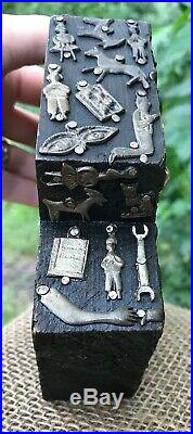 Estela Ogazon Milagro Wood Cross Vintage Mexican Folk Art 5 1/2 X 6 Sculpture