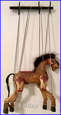 Exquisite Vintage Art Sculpture Marionette Puppet Hand Carved Painted Wood Horse