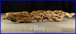 Extra Large Japanese Vintage Wood Carving Dragon Ranma Sculpture 6ft. 6in