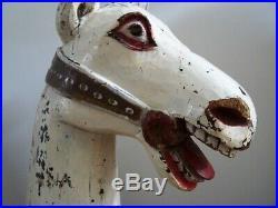 FOLK ART Carousel HORSE HEAD SCULPTURE carved wood VINTAGE ANTIQUE 24 on stand