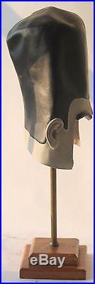 FRANKENSTEIN MASK on stand VINTAGE rubber wood brass found art sculpture head