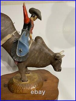 Fantastic Vintage American Folk Art Carving Of A Cowboy Rodeo Bull Rider