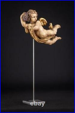 Flying Angel Sculpture Wood Carving Statue Wooden Vintage Figure 7.5