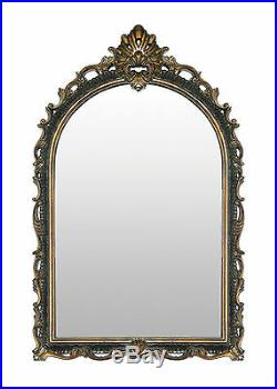 French Antique Style Arched Crown Acanthus Scrolls Black Gold Wall Mirror 41H