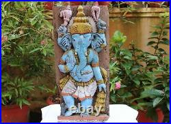 Ganesha Statue Antique Wall Panel Hindu Temple Ganesh Sculpture Vintage Figurine