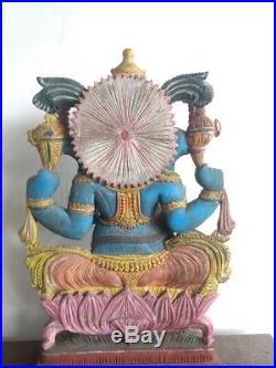 Ganesha Wooden Sculpture Vintage Ganesh Hindu Elephant God Statue Figurine Murti