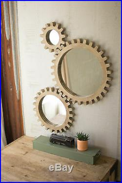 Gear Wall Mirrors Industrial Warehouse Round Wood COG Gears Steampunk Set Of 3
