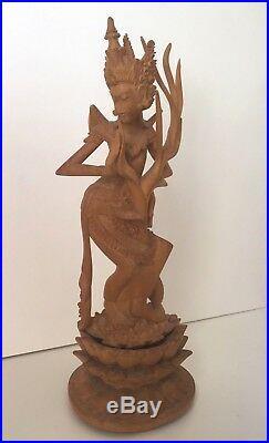 Genuine Balinese Vintage Wood Carving Dancing Girl Real Sandalwood