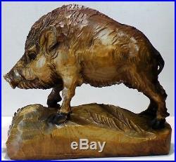 German Vintage Black Forest Large Wild Boar Wood Carving very detailed