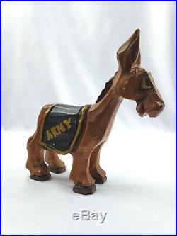 Great Vintage Carter Hoffman Original Wood Carving ARMY Donkey