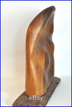 HUGE Vtg Mid Century Danish Modern Carved Wood FREE FORM Table Sculpture RL