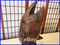 Hand Carved Large Solid Wood Vintage Fish Salmon Sculpture Stands 24 Tall