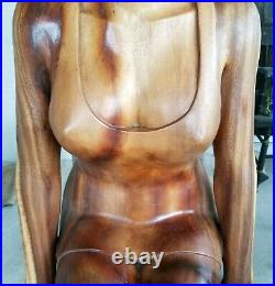 Hand-Carved Wood Sculpture LIFE SIZE Mid-Century Vintage Woman Female Figure