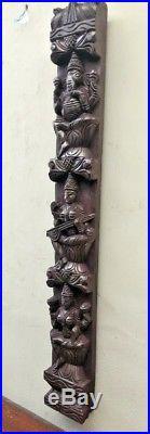 Hindu Ganesh Wall Vertical Wooden Panel Vintage Lekshmi Saraswati Sculpture Rare