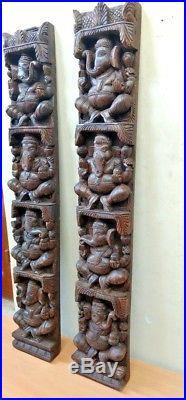 Hindu Ganesha Wall Vertical Panel Vintage Sculpture Ganesh Wooden Home Art US