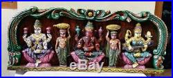 Hindu God Ganesh Lakshmi Saraswathi Wooden Vintage Wall Panel Statue Sculpture