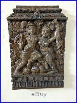 Hindu God Krishna Radha Love Making Vintage Wall Panel Statue Sculpture Plaque