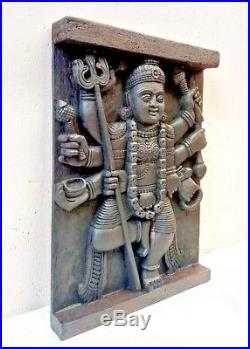 Hindu Goddess Durga Kali Devi Temple Vintage Wall Panel sculpture Statue panel