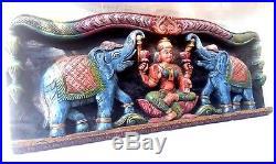 Hindu Goddess Lakshmi with Elephants Wooden Vintage Wall Panel Carved Sculpture