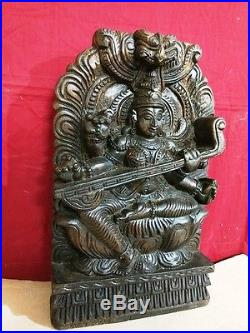 Hindu Saraswati Devi Statue Vintage Temple Sculpture Hand Carved Saras Murti Rar