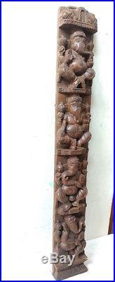 Hindu Temple Ganesha Wall Vertical Panel Vintage Sculpture Ganesh Wooden Murti