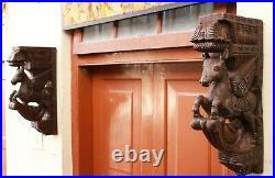 Horse Wall Corbel Bracket Pair Wooden Statue Home Decor Sculpture Vintage Rare