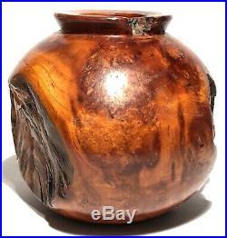 Hosler Indiana Vintage Cherry Burl Wood Hand Crafted Artisan Sculpture Vase