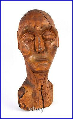 Huge Vintage Mid-Century Carved Wood Abstract Bust Mans Head Sculpture