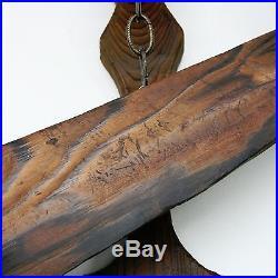 Huge Vtg 51 Long Wood Carved Viking Wall Hanging Sword Wooden Moorish Sculpture