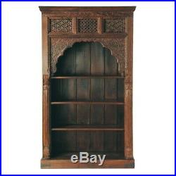 Indian Handmade Antique Hand Carving Wooden Book Case Book Rack Brown