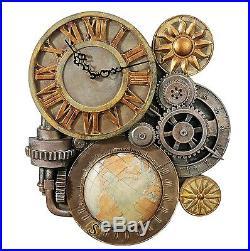 Industrial Vintage Sculptural Art Stone Style Wall Clock Gears Steampunk Retro