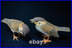 Japanese Vintage Ueno Gyokusui Wood Carving Sparrow Pair Sculpture