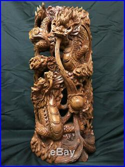Japanese Vintage Wood Carving Large & Heavy Dragon Sculpture 24