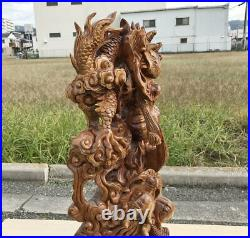 Japanese Vintage Wood Carving Large Heavy Dragon Sculpture Japanese antiques