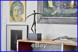 Jere Vtg Mid Century Modern Brutalist Bronze Wood Woman Table Sculpture Aubock