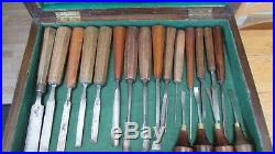 Job Lot of Vintage Woodwork and Wood Carving tools Chisels, Gouges X 55 Boxed