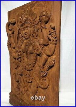 Kali Wooden Statue Wall Panel Goddess Sculpture Vintage Temple Figurine Idol