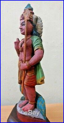 Kartikeya Murugan Hindu God Vintage Sculpture Wooden Statue Puja Murti Idol Rare