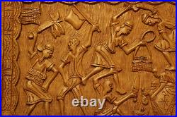 LARGE Vintage ABNER Afro-Haitian Wood Carving Wall Art Dancers and Musicians
