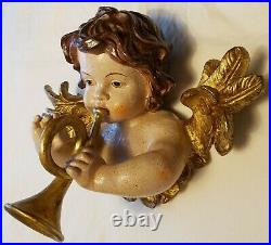 LARGE Vintage Winged Angel Putto Cherub Religious Wings Sculpture Santos Trumpet