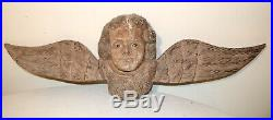 LARGE vintage hand carved wood glass eye winged cherub angel wall sculpture